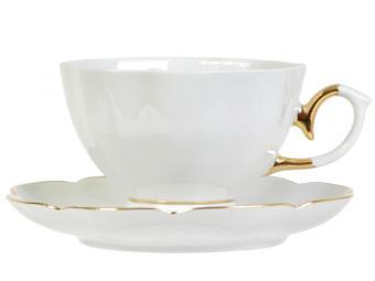 Чайная пара 250см3 ф.Елена Белая с золотом тонкостенная