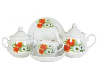 Чайный сервиз Ромашка с тюльпаном 20пр форма Кирмаш