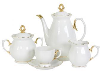 Кофейный сервиз Белый с золотом форма Елена 15 пр.