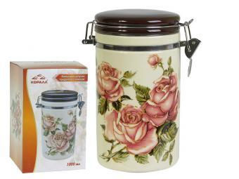 Банка для сыпучих продуктов 1000мл ''Корейская роза'' с клипсой
