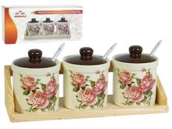 Набор банок для сыпучих продуктов 3 пр 250мл ''Корейская роза''