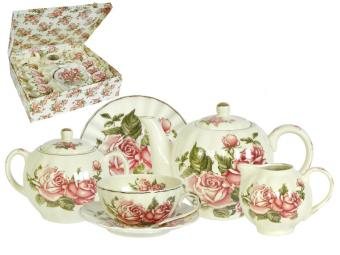 Чайный набор Корейская роза с чайником 15 пр