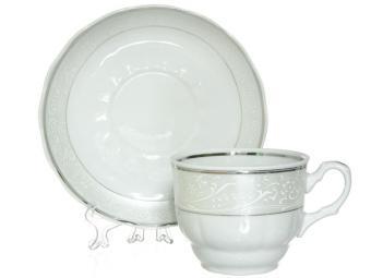 Чайный сервиз 15 пр Серебристый форма Романс Добрушский фарфоровый завод