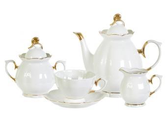 Чайный сервиз 15 пр форма Елена белый с золотом