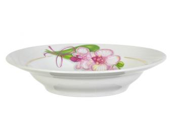 Тарелка 200 мм глубокая Белая орхидея