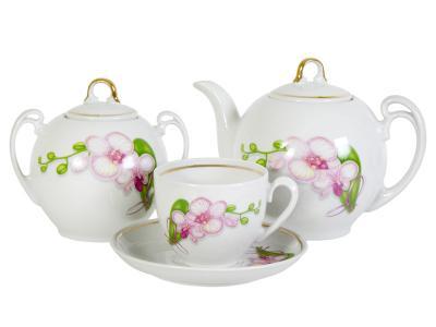 Чайный сервиз 14пр Белая орхидея форма Гармония Добрушский фарфоровый завод