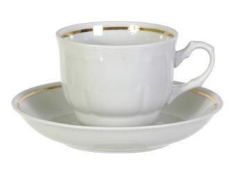 Чайная пара белая с золотом форма Тюльпан 250мл