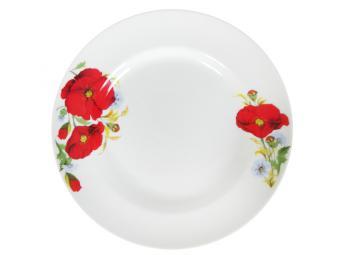 Тарелка Маки красные мелкая 20см форма Идиллия