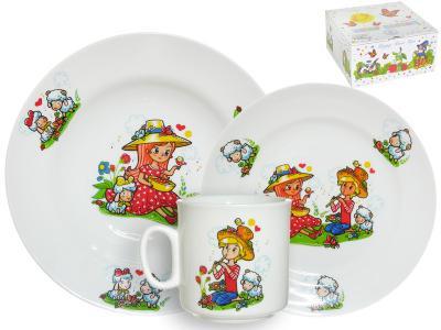 Набор детской посуды 3 предмета Пастушки 6С2631 Добрушский фарфоровый завод