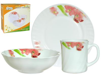 Набор стеклокерамика Орхидея для завтрака 3пр 3PCS-12226