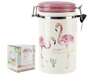 Банка для сыпучих продуктов 820мл Фламинго с клипсами