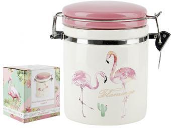 Банка для сыпучих продуктов 700мл Фламинго с клипсами
