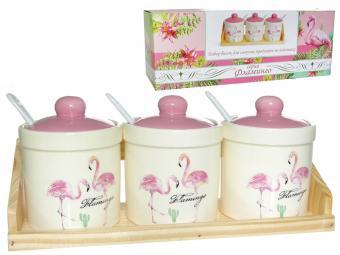 Набор банок для сыпучих 3шт 240мл с ложками Фламинго