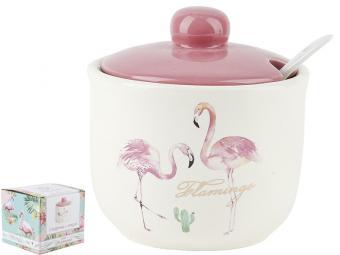Сахарница 350мл с ложкой Фламинго