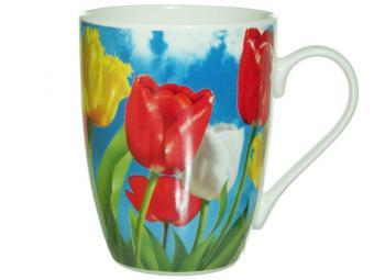Кружка бочка 340мл Тюльпаны