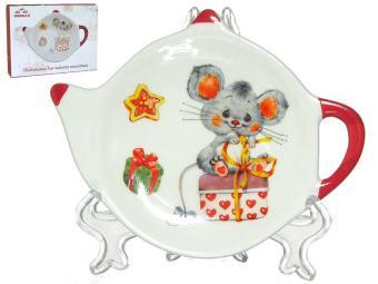 Подставка для чайного пакетика Мышонок с подарком