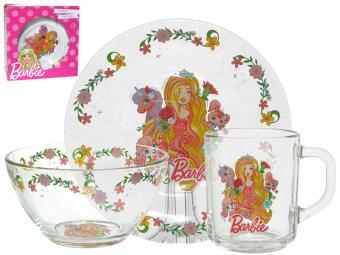 Набор детский 3пр Барби стекло