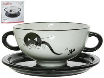 Набор для бульона 2пр 600мл блюдце 18см Черный кот MILLIMI ''''Чёрный кот'''' (кер) (1)''
