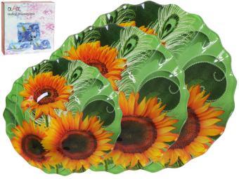 Набор салатников стеклянных волнистый край 07623