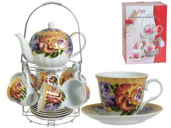 Чайный набор с чайником на метал подставке 07627