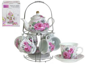 Чайный набор с чайником Пионы на металической подставке S03R-F21