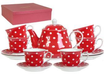 Чайный набор 13пр ''Красный горох'' в коробке (53123)