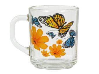 Кружка ''Gren tea'' Бабочки и оранжевые цветы