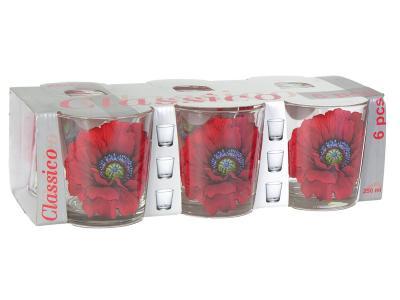 Набор стаканов Алый мак 6шт низкие 250мл Опытный стекольный завод