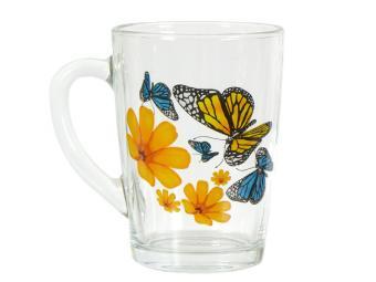 Кружка Капучино Бабочки и оранж.цветы 300мл