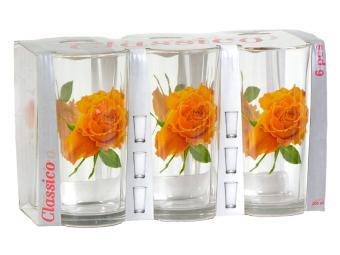Набор стаканов Роза желтая 6шт 200мл