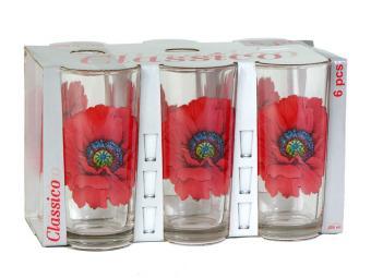Набор стаканов ''Алый мак'' 6шт (высокие) 230мл