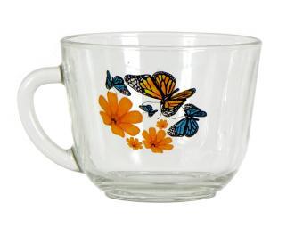 Кружка ''Гламур'' Бабочки и оранжевые цветы 200мл