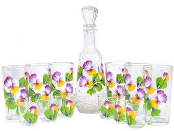 Набор Графин, 6 стаканов и 6 стопок Анютка