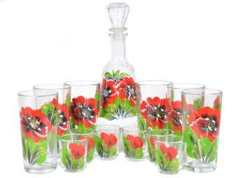 Набор Графин, 6 стаканов и 6 стопок Маки