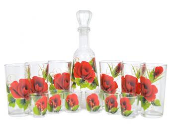 Набор Классик графин, 6 стаканов, 6 стопок Роза