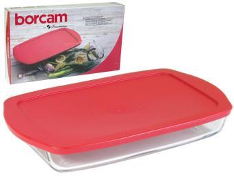 Форма для выпечки стеклянная с пластиковой крышкой 2л Borcam