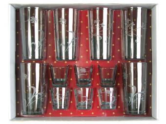 Набор 12пр Изящная ветвь дымка (6 стаканов, 6 стопок)