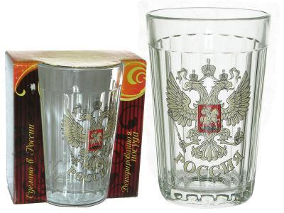 Стакан Граненый 250 мл в индивидуальной упаковке Герб России 785/4