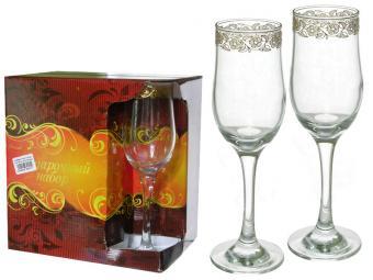 Набор бокалов для шампанского 200 мл Золотая вязь