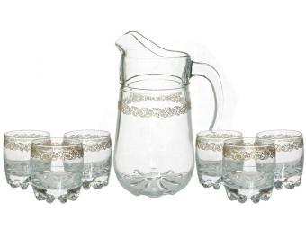 Кувшин 1,34л и 6 низких стаканов 305 мл Золотая вязь