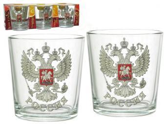 Набор стаканов 6шт 250мл Герб России (низкие)