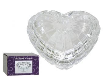 Шкатулка стеклянная сердце 9,8*9,2*5см
