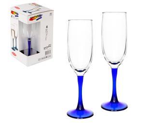 Набор бокалов для шампанского Imperial 155мл 4шт на синей ножке