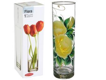 Ваза для цветов цилиндр Н26 D10 цветы роспись