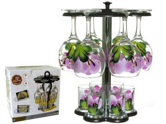 Набор 12пр мини бар (бокал 250мл, стопка 50мл) Орхидея