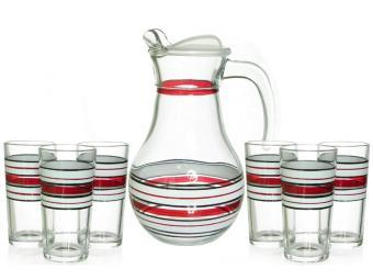 Набор 7пр кувшин и 6 стаканов стиль №1 Рубин
