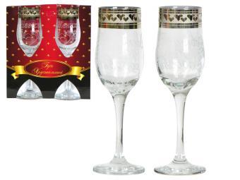 Набор бокалов 2пр Свадьба гравировка и напыление