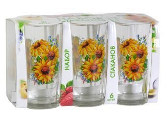 Набор стаканов для сока Подсолнух 200мл 6шт