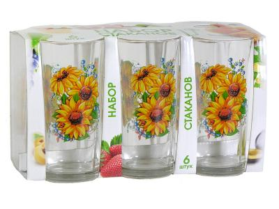 Набор стаканов для сока Подсолнух 200мл 6шт Опытный стекольный завод