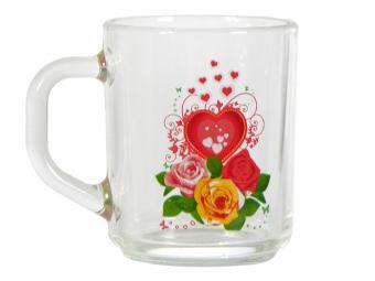 Кружка Валентинка 250мл стеклянная